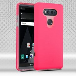 LG V20 Electric Pink Dots Textured/Transparent Clear Fusion Case