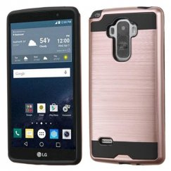 LG G Stylo Rose Gold/Black Brushed Hybrid Case