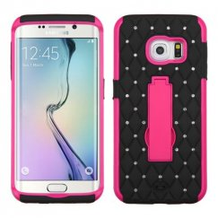 Samsung Galaxy S6 Edge Hot Pink/Black Symbiosis Stand Case with Diamonds