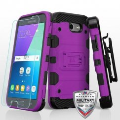 Samsung Galaxy J3 Purple/Black 3-in-1 Storm Tank Hybrid Case Combo with Black Holster and Tempered Glass Screen Protector - Military Grade