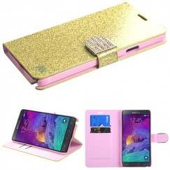 Samsung Galaxy Note 4 Gold Glittering Wallet with Diamante Belt