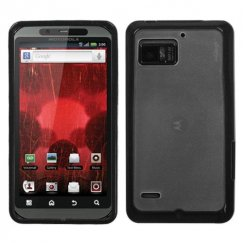 Motorola Droid Bionic Transparent Clear/Solid Black Gummy Cover