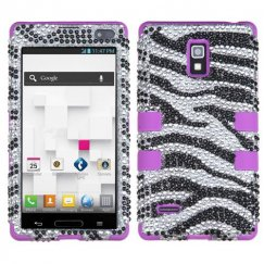 LG Optimus L9 Zebral Diamante/Electric Purple Hybrid Case