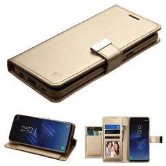 Samsung Galaxy S8 Gold/Gold PU Leather Wallet with extra card slots (GE032)