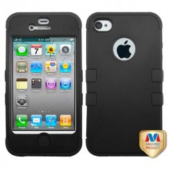 Apple iPhone 4/4s Rubberized Black/Black Hybrid Case