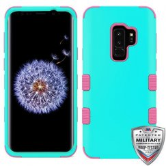 Samsung Galaxy S9 Plus Rubberized Teal Green/Electric Pink Hybrid Phone Case Military Grade