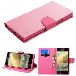ZTE Warp Elite Pink Pattern/Hot Pink Liner Wallet with Card Slot