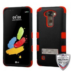 LG G Stylus 2 Natural Black/Red Hybrid Case with Stand