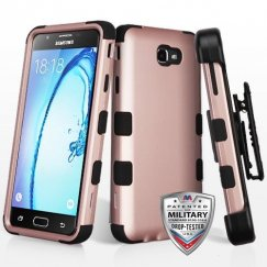 Samsung Galaxy On7 Rose Gold/Black Hybrid Case Military Grade with Black Horizontal Holster
