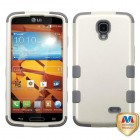 LG LS740 Volt Rubberized Pearl White/Iron Gray Hybrid Case