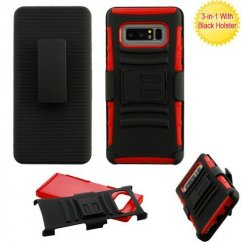 Samsung Galaxy Note 8 Black/Red Advanced Armor Stand Case with Black Holster