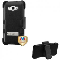 Samsung Galaxy Grand Prime Natural Black/Black Hybrid Case with Stand and Black Horizontal Holster