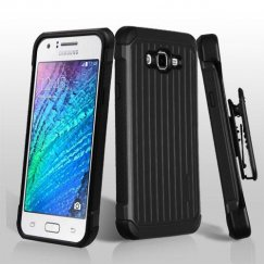 Samsung Galaxy J7 Black/Black Suitcase Hybrid Case with Black Horizontal Holster