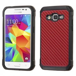 Samsung Galaxy Core Prime Red Carbon-Fiber Backing/Black Astronoot Case