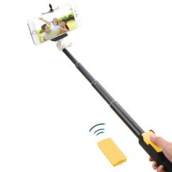Yellow Selfie Stick (with Black Mobile Monopod)(for iOS & Android)