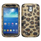 Samsung Galaxy S4 Active SGH-i537 Leopard Skin/Camel Diamante/Black Hybrid Phone Protector Cover