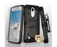 Dark Grey/Black 3-in-1 Kinetic Hybrid Protector Cover Combo (with Black Holster)(Twin Screen Protectors)