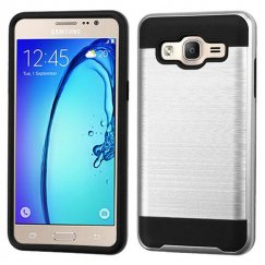 Samsung Galaxy On5 Silver/Black Brushed Hybrid Case