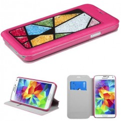 Samsung Galaxy S5 Hot Pink Wallet with Colorful Beads Inside Abstract Triangles