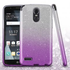 LG G Stylo 3 Purple Gradient Glitter Hybrid Protector Cover