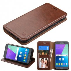 Samsung Galaxy J3 Brown Wallet with Tray