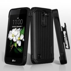 LG K7 Black/Black Suitcase Hybrid Case with Black Horizontal Holster