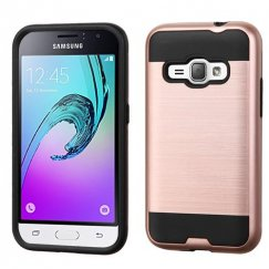 Samsung Galaxy J1 Rose Gold/Black Brushed Hybrid Case