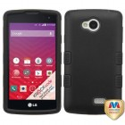 LG Tribute Rubberized Black/Black Hybrid Phone Protector Cover