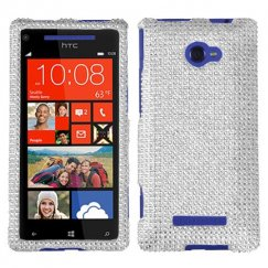 HTC Windows Phone 8x Silver Diamante Case