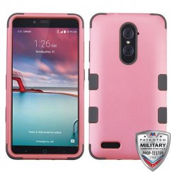 ZTE Grand X Max 2 Rubberized Pearl Pink/Iron Gray Hybrid Phone Protector Cover [Military-Grade Certified]