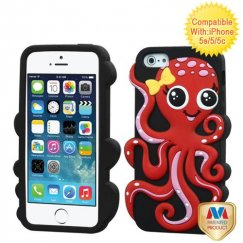 Apple iPhone 5/5s Red/Black Octopus Pastel Skin Cover