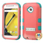 Motorola Moto E 2nd Gen Natural Baby Red/Tropical Teal Hybrid Case with Stand