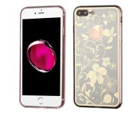 Apple iPhone 7 Plus Phoenix-tail Flowers Electroplating (Silver)/Transparent Clear Gummy Cover