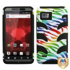 Motorola Droid Bionic Colorful Zebra /Black Fishbone Case