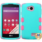 LG Tribute Rubberized Teal Green/Electric Pink Hybrid Phone Protector Cover