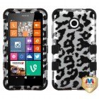 Nokia Lumia 635 Black Leopard (2D Silver)/Black Hybrid Phone Protector Cover