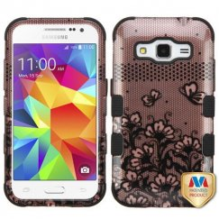 Samsung Galaxy Core Prime Black Lace Flowers 2D Rose Gold/Black Hybrid Case