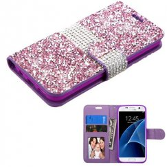 Samsung Galaxy S7 Purple Mini Crystals with Silver Belt Wallet