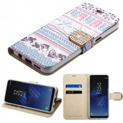 Samsung Galaxy S8 Plus Jumping Fishes Diamante Wallet with Diamante Belt