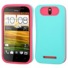 HTC One SV Rubberized Teal Green/Hot Pink Card Wallet Back Protector Cover