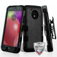 Motorola Moto E4 Natural Black/Black 3-in-1 Hybrid Case Combo with Black Holster and Tempered Glass Screen Protector Military Grade