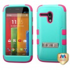 Motorola Moto G Natural Teal Green/Electric Pink Hybrid Phone Protector Cover (with Stand)