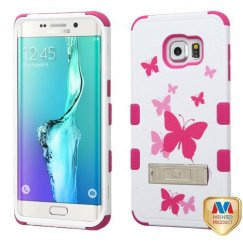 Samsung Galaxy S6 Edge Plus Butterfly Dancing/Hot Pink Hybrid Case with Stand