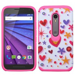 Motorola Moto G 3rd Gen Heart Graffiti(White)/Hot Pink Advanced Armor Case