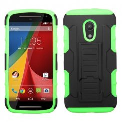 Motorola Moto G Black/Electric Green Car Armor Stand Case - Rubberized