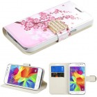 Samsung Galaxy Core Prime Spring Flowers Wallet(with Diamante Belt)