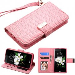 LG K7 Pink Crocodile-Embossed Wallet