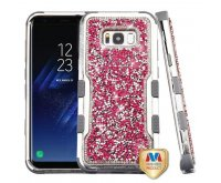 Samsung Galaxy S8 Plus Silver Plating Frame?? Pink Mini Crystals Back/Iron Gray Vivid Hybrid Protector Cover
