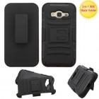 Samsung Galaxy J3 Black/Black Advanced Armor Stand Protector Cover (With Black Holster)