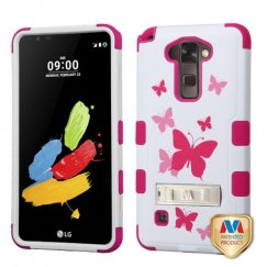 LG G Stylus 2 Butterfly Dancing/Hot Pink Hybrid Case with Stand